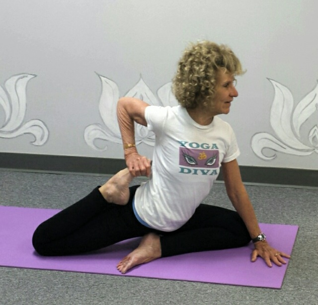 Karen Scott  in SWAN THIGH STRETCH pose