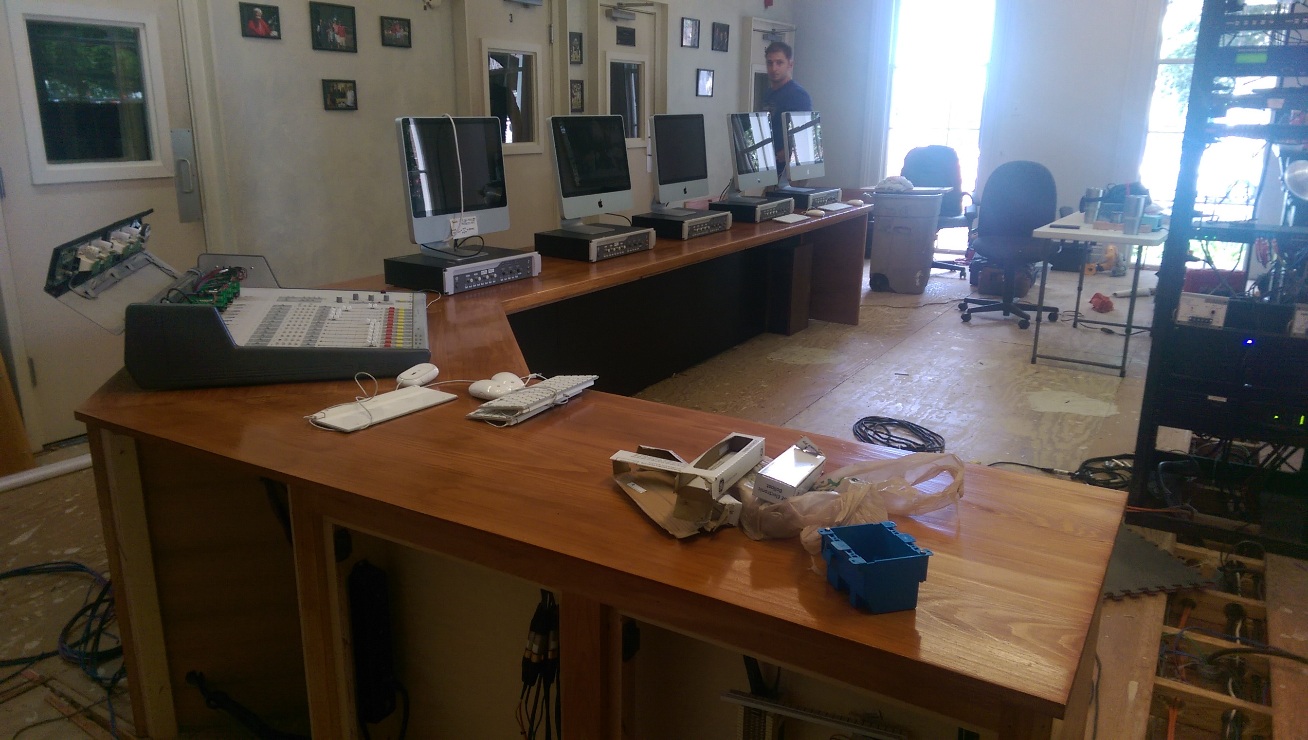 Photo of WRBH's new studio workstation almost complete