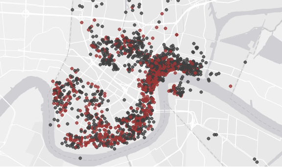Short Term Rental Map via Nola.com and NolaRentalReport.com