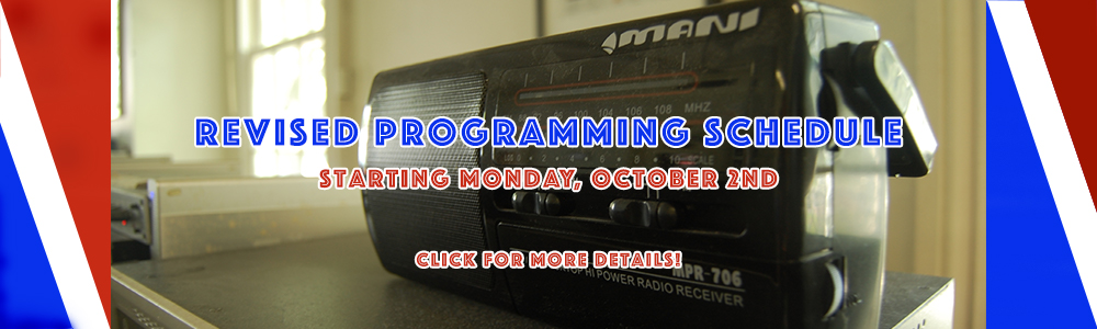 "Photo reading: ""Revised Programming Schedule Coming on October 2nd"""