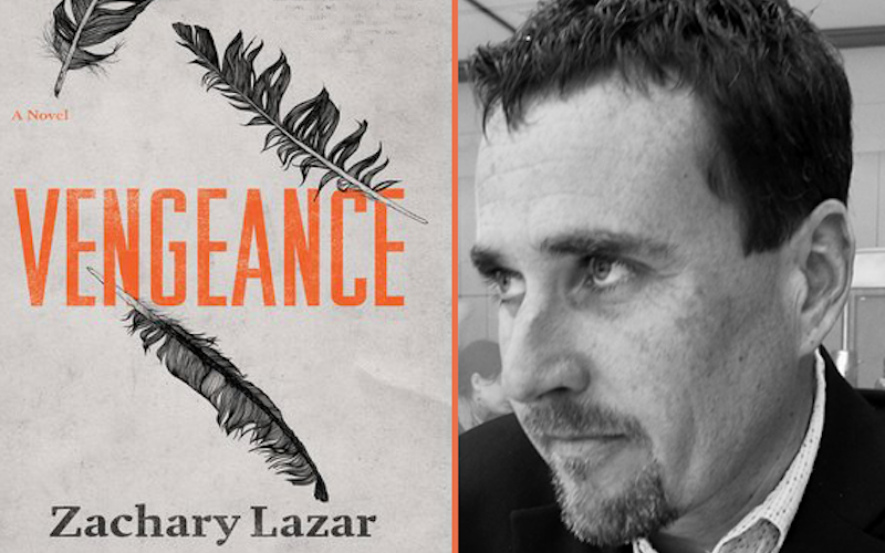 A side-by-side image of author, Zachary Lazar with the cover of his novel, Vengeance.