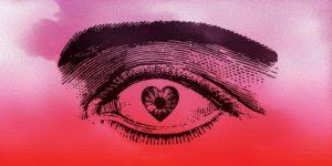 pink heart eye