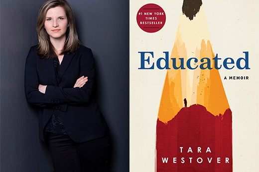 Tara Westover side-by-side with an image of her book, Educated: A Memoir