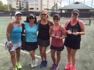 3.0 Rating: (Left) Runners-up: Andrea Finkelstein and Molly Hardin. (Middle) Natalia Gonzalez, WRBH. (Right) Champions: Amanda Maksi and Kellie Proctor
