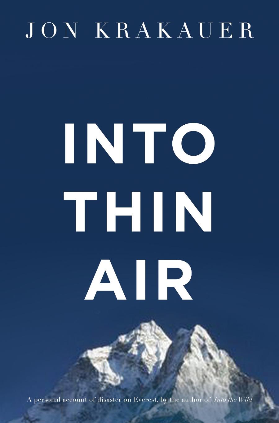 Into Thin Air by John Krakauer book cover photo