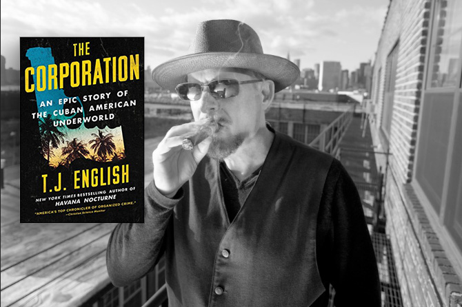 Photo of The Corporation book cover, as well as author TJ English smoking a cigar
