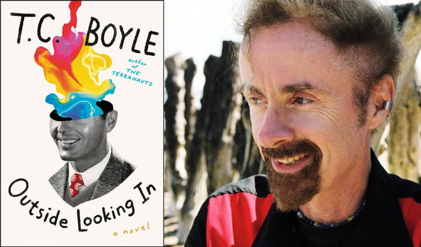 A side-by-side image of author, T.C. Boyle, and the cover of his book, Outside Looking In
