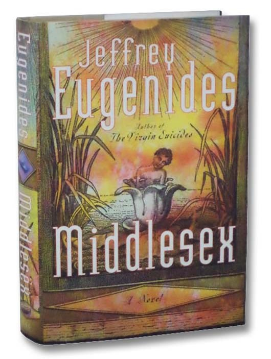 Cover of John Eugenides' book, Middlesex.  Features a boy coming out of a flower at the bank of a pond, surrounded by reeds.